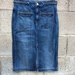 7 For All Man Kind Blue Jean Skirt Front Slit SZ S
